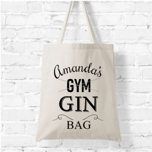 Personalised Natural Soft Tote Bag N9 - Any Name's Gym / Gin Bag